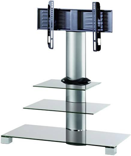 TV tartó állvány alumíniumból, 56 cm-119 cm (22- 47) méretig, 2részes üvegpolccal, ezüst színben VCM Amalo 17016
