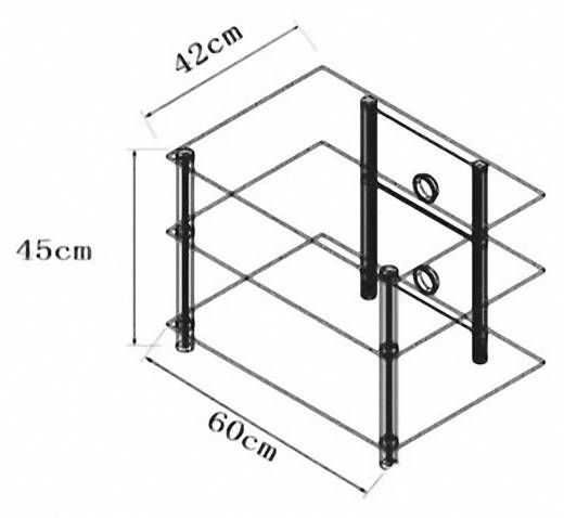 Üvegpolcos TV szekrény, fekete üvegpolcokkal VCM Sindas 14125