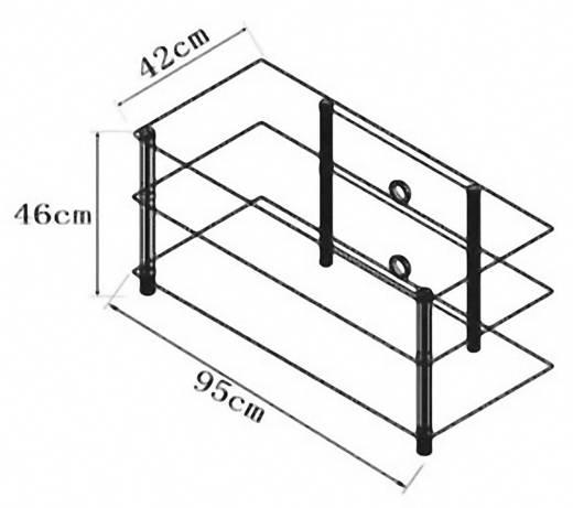 Üvegpolcos TV szekrény, matt üvegpolcokkal 95x45x42 VCM Netasa 14130