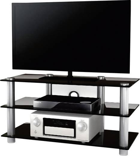 Üvegpolcos TV szekrény, fekete üvegpolcokkal 95x45x42 VCM Netasa 14135