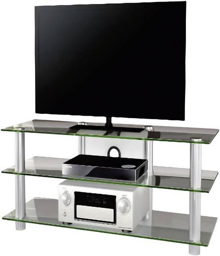 Üvegpolcos TV szekrény, átlátszó üvegpolcokkal 110x45x42 VCM Zumbo 110 14150