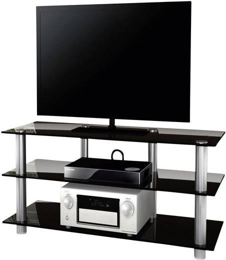 Üvegpolcos TV szekrény, fekete üvegpolcokkal 110x45x42 VCM Zumbo 110 14155