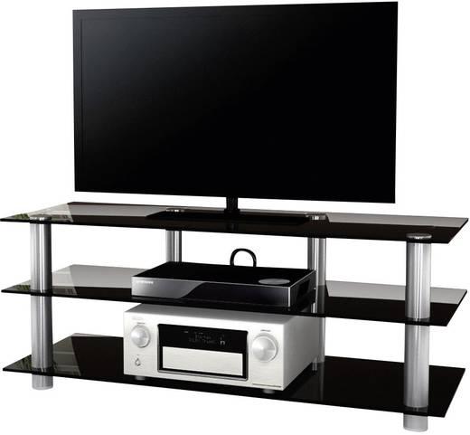 Üvegpolcos TV szekrény, fekete üvegpolcokkal 140x45x42 VCM Lotasa 140 14175