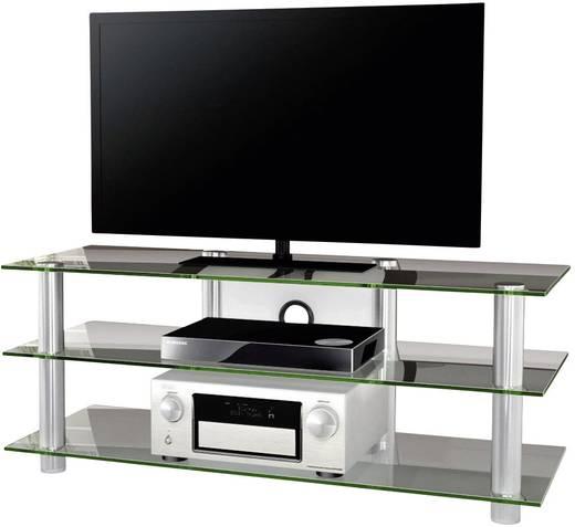 Üvegpolcos TV szekrény, átlátszó üvegpolcokkal 140x70x42 VCM Posio Big XXL 14180