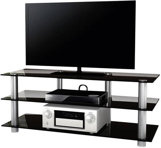 Üvegpolcos TV szekrény, fekete üvegpolcokkal 140x70x42 VCM Posio Big XXL 14185