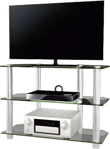 Üvegpolcos TV szekrény, átlátszó üvegpolcokkal 95x70x42 VCM Olopa 14140