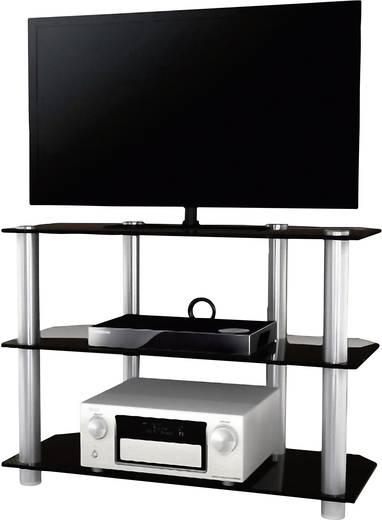 Üvegpolcos TV szekrény, fekete üvegpolcokkal 95x70x42 VCM Olopa 14145