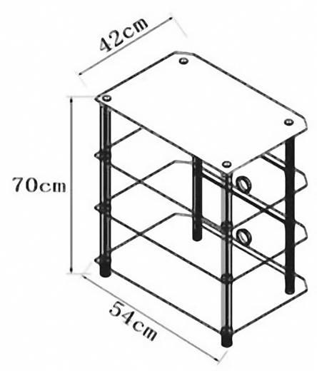 Üvegpolcos Hi-Fi szekrény, fekete üvegpolcokkal 54x70x42 VCM Blados 14115