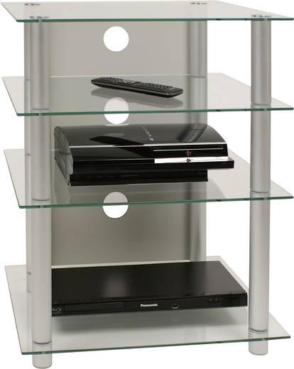 Üvegpolcos Hi-Fi szekrény, átlátszó üvegpolcokkal 70x56x42 VCM Bilus 14100