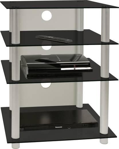 Üvegpolcos Hi-Fi szekrény, fekete üvegpolcokkal 70x56x42 VCM Bilus 14105