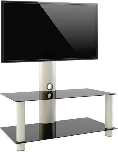TV tartó állvány alumíniumból, fekete üvegpolccal, ezüst színben 65-94 cm méretig VCM Valeni Mini 14190