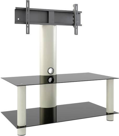TV tartó állvány alumíniumból, fekete üvegpolccal, ezüst színben 94-177 cm méretig VCM Valeni Mini 14195