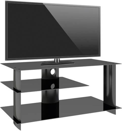 TV tartó állvány alumíniumból, fekete üvegpolccal, fekete színben 120x55x40cm VCM Subuso 14205