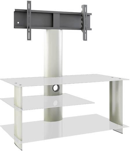 TV tartó állvány alumíniumból, ezüst színű üvegpolccal, ezüst színben 120x55x40cm VCM Bulmo 14210