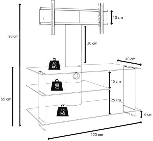 TV tartó állvány alumíniumból, fekete üvegpolccal, fekete színben 120x55x40cm VCM Bulmo 14215