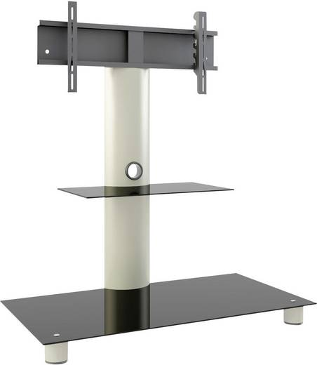 TV tartó állvány alumíniumból, fekete üvegpolccal, ezüst színben 95x72x40cm VCM Standol 14225