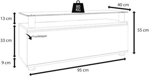 Fiókos TV szekrény, nappali bútor TV tartó állvánnyal, magasfényű fehér színben 95x55x40cm VCM Clano 14240