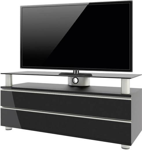 Fiókos TV szekrény, nappali bútor TV tartó állvánnyal, magasfényű fekete színben 120x55x40cm VCM Dasano 14255