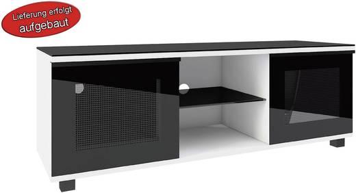 TV szekrény, nappali bútor TV tartó állvánnyal, magasfényű fehér színben 50x150x45cm VCM Luxala 14260