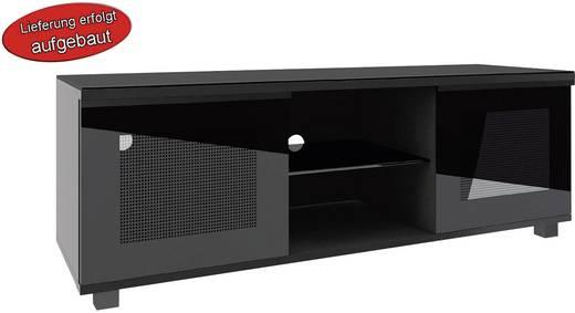 TV szekrény, nappali bútor TV tartó állvánnyal, magasfényű fekete színben 50x150x45cm VCM Luxala 14265