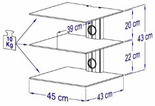 Fali tartó konzol, 3 részes polcos elem átlátszó üvegből, 45x43x45cm VCM Trento3 17888