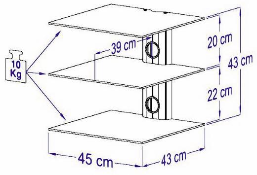 Fali tartó konzol, 3 részes polcos elem, fekete üvegből, 45x43x45cm VCM Trento3 17889