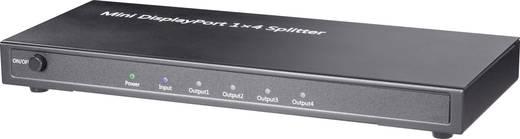 mini DisplayPort elosztó, 4 port, Ultra HD 3648 x 2160 pixel, 3D képes, fekete, Renkforce
