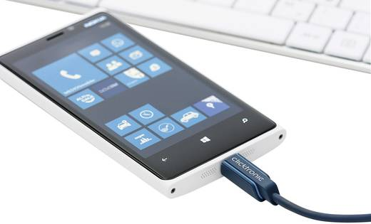 USB kábel [1x USB 2.0 dugó A - 1x mikro B dugó] 0,5 m Kék clicktronic 64002