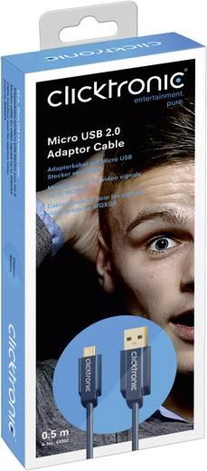 USB 2.0 csatlakozókábel [1x USB A dugó - 1x USB mikro B dugó ] 1,8 m Kék clicktronic 64004