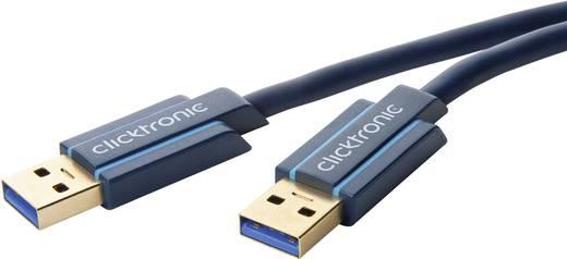 Számítógép Csatlakozókábel [1x USB 2.0 dugó A - 1x USB 2.0 dugó A] 1.80 m Kék clicktronic
