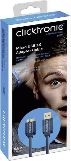 USB 3.0 csatlakozókábel 1x USB 3.0 A dugó - 1x USB 3.0 micro B dugó 0,5 m Kék clicktronic