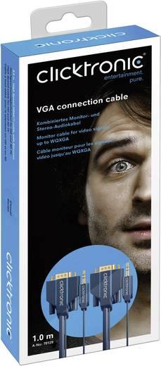 VGA - Jack átalakító kábel [VGA dugó/Jack dugó, 3,5 mm - VGA dugó/Jack alj, 3,5 mm] 2 m kék Clicktronic 70130