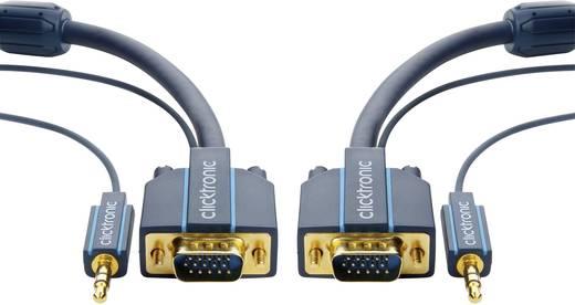 VGA - Jack átalakító kábel [VGA dugó/Jack dugó, 3,5 mm - VGA dugó/Jack alj, 3,5 mm] 7,50 m kék Clicktronic 70133