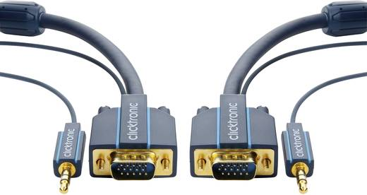 VGA - Jack átalakító kábel [VGA dugó/Jack dugó, 3,5 mm - VGA dugó/Jack alj, 3,5 mm] 15 m kék Clicktronic 70135