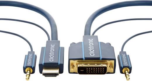 DVI HDMI Jack átalakító kábel [DVI 24+1 pólusú/Jack dugó, 3,5 mm - HDMI dugó/Jack dugó 3.5 mm] 5m kék Clicktronic 70140