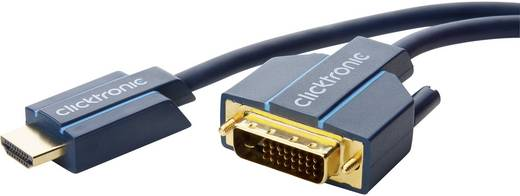 DVI / HDMI Csatlakozókábel [1x DVI dugó, 24+1 pólusú - 1x HDMI dugó] 1 m Kék 1920 x 1080 pixel clicktronic