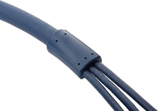 RCA AV kábel, 3x RCA dugó - 3x RCA dugó, 2 m, aranyozott, kék, Clicktronic