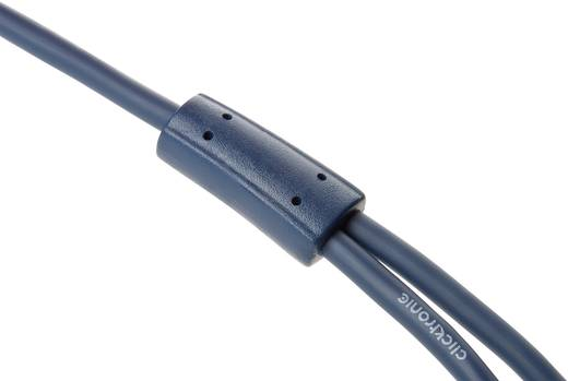 Jack - RCA audio kábel, 1x 3,5 mm jack dugó - 2x RCA dugó, 1 m, aranyozott, kék, Clicktronic 1171937