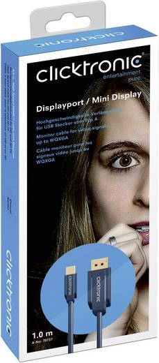 Displayport átalakító kábel [1x DisplayPort dugó - 1x Mini DisplayPort dugó] 3 m kék Clicktronic 70739