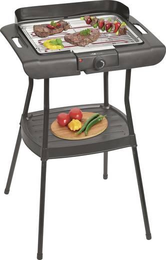 Elektromos grillsütő, kerti grill állvánnyal, szélvédővel, fekete, Clatronic BQS3508