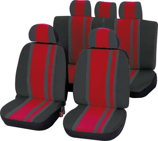 Autó üléshuzat készlet, 14 részes, piros/fekete, Unitec
