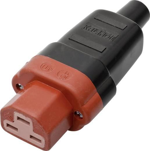 Lengő hálózati műszercsatlakozó aljzat, 3 pól., egyenes, 16 A, fekete/piros, C21, Kalthoff 444 P/Si