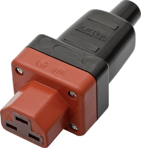 Lengő hálózati műszercsatlakozó aljzat, 3 pól., pipa, 16 A, fekete/piros, C21, Kalthoff 444 P/Si4