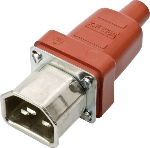 Lengő hálózati műszercsatlakozó dugó, 3 pól., egyenes, 16 A, piros/fémes, C22, Kalthoff 444 P/D/Si