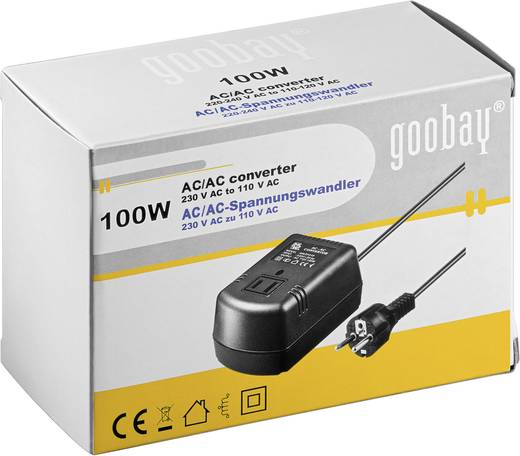 230 V/AC-ról 110 V/AC-ra átalakító transzformátor, amerikai fogyasztókhoz 100W-ig Goobay SPW MW 2P100