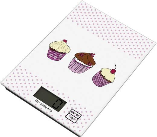 Digitális konyhai mérleg, fehér/rózsaszín, TKG EKS 1001 CCK