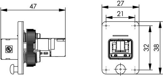 RJ45 peremes aljzat, 4-es változat, beépíthető Pólus: 8P8C fekete Telegärtner J80020A0005