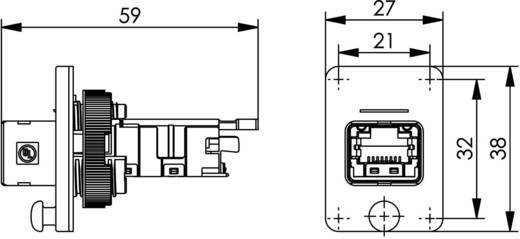 RJ45 peremes aljzat, 4-es változat, beépíthető Pólus: 8P8C fekete Telegärtner J80020A0004