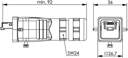 STX V5 RJ45 dugókészlet, 5-ös változat, egyenes Pólus: 8P8C alumínium Telegärtner J80026A0018