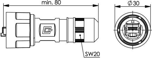 STX V1 RJ45 dugókészlet, műanyag, 1 dugó, egyenes Pólus: 8P8C fekete Telegärtner J80026A0011